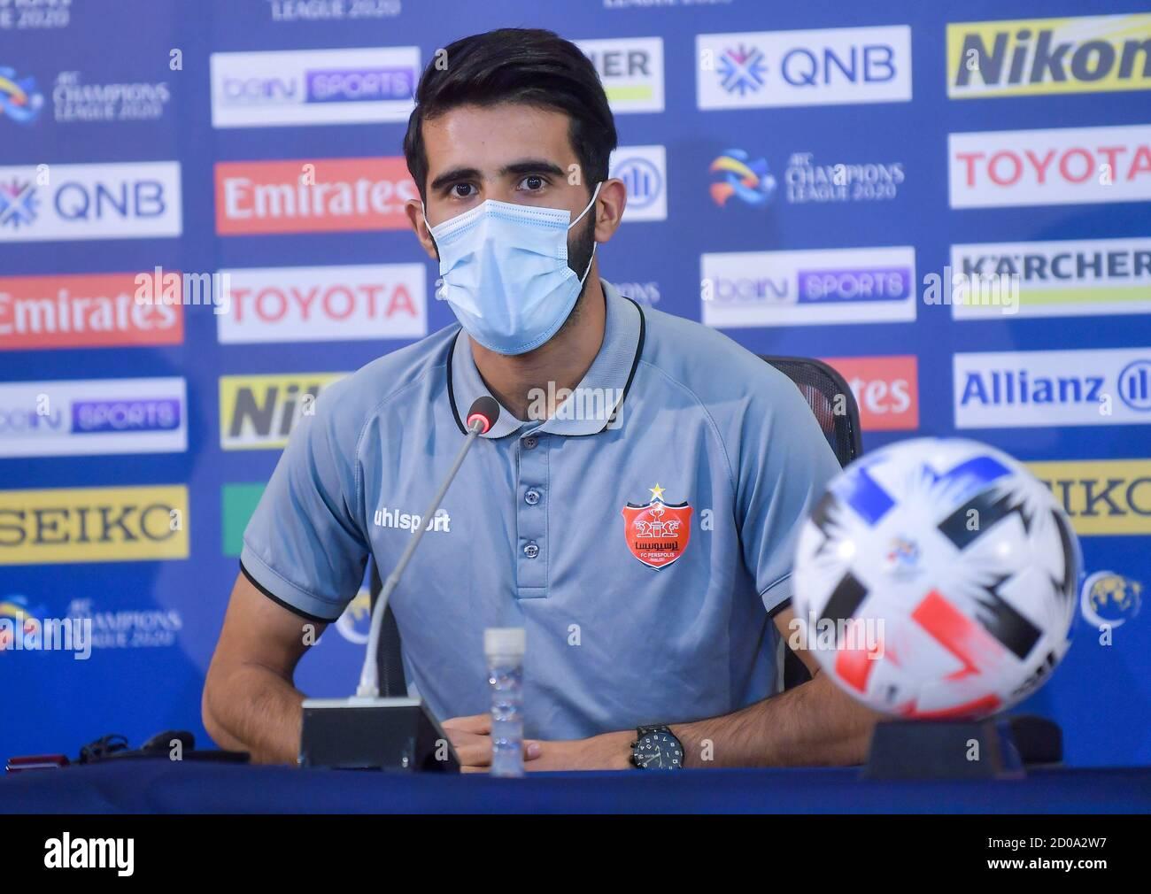 Doha Qatar 2nd Oct 2020 Persepolis Fc S Player Bashar Resan Bonyan Attends A Press Conference Ahead Of The Semi Final Match Of Afc Champions League Between Al Nassr Fc Of Saudi Arabia And