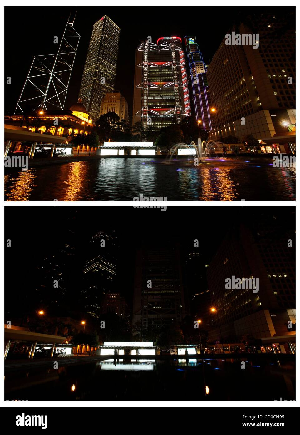 A combination picture shows Hong Kong's central financial district's (L-R) Bank of China Tower, Cheung Kong Centre, HSBC headquarters, Standard Chartered Bank and Legislative Council before (top) and during Earth Hour, March 26, 2011. Lights started going off around the world on Saturday in a show of support for renewable energy, given added poignancy by Japan's nuclear disaster which raises doubts about nuclear power as a possible solution. Landmarks in thousands of cities, from Sydney Harbour Bridge to the world's tallest building, the Burj Khalifa in Dubai, will turn off the power for Earth Stock Photo