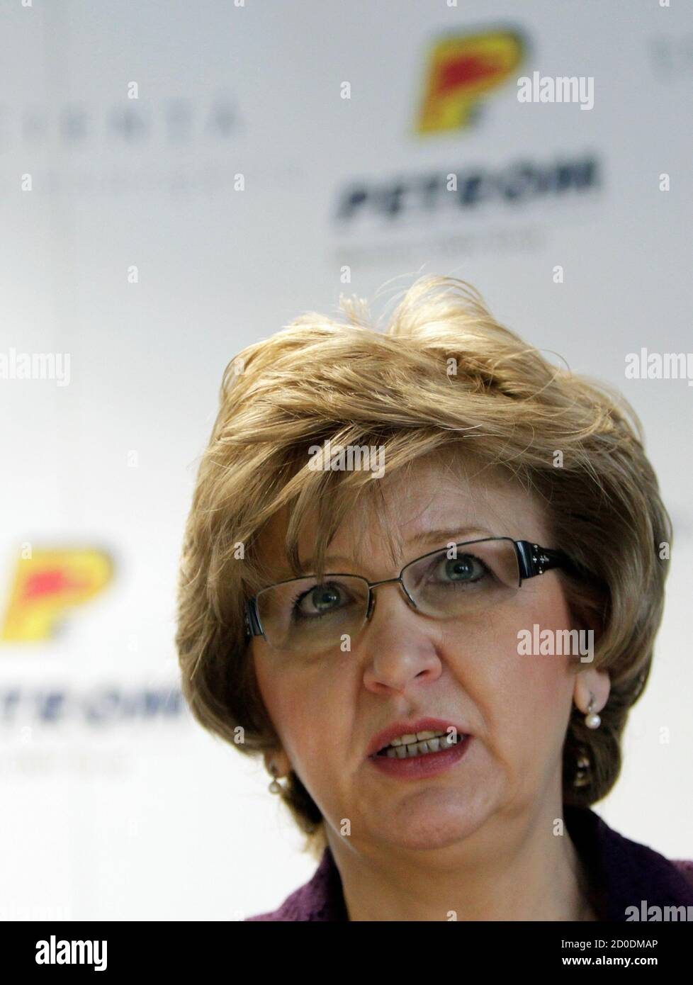 Mariana Gheorghe Ceo Of Petrom Addresses The Media During The Presentation Of The Earnings Report Of The Year 2010 In Bucharest February 23 2011 Romania S Top Energy Company Petrom Swung To A