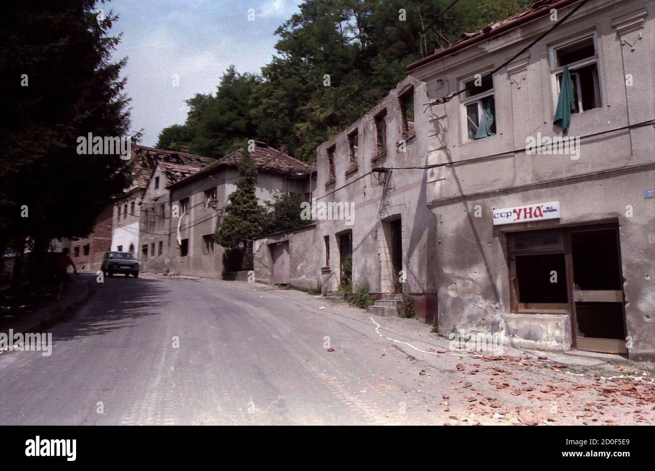 A General View Of A Street With By Houses Destroyed And Burned By Rebel Croatian Serbs In Hrvatska Kostajnica 100 Km 62 Miles Southeast Of The Croatian Capital Zagreb On The Day