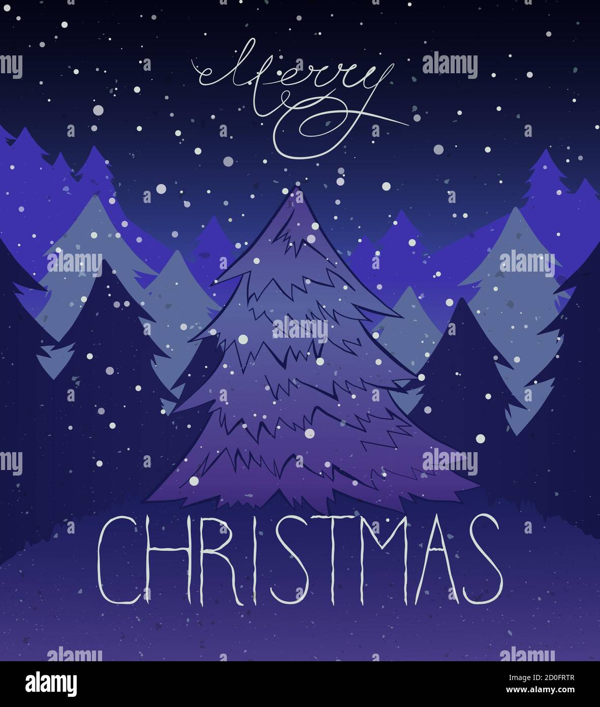 Vector Vintage Background With Christmas Tree And Merry Christmas Hand Lettering In White And Blue Colors Stock Vector Image Art Alamy