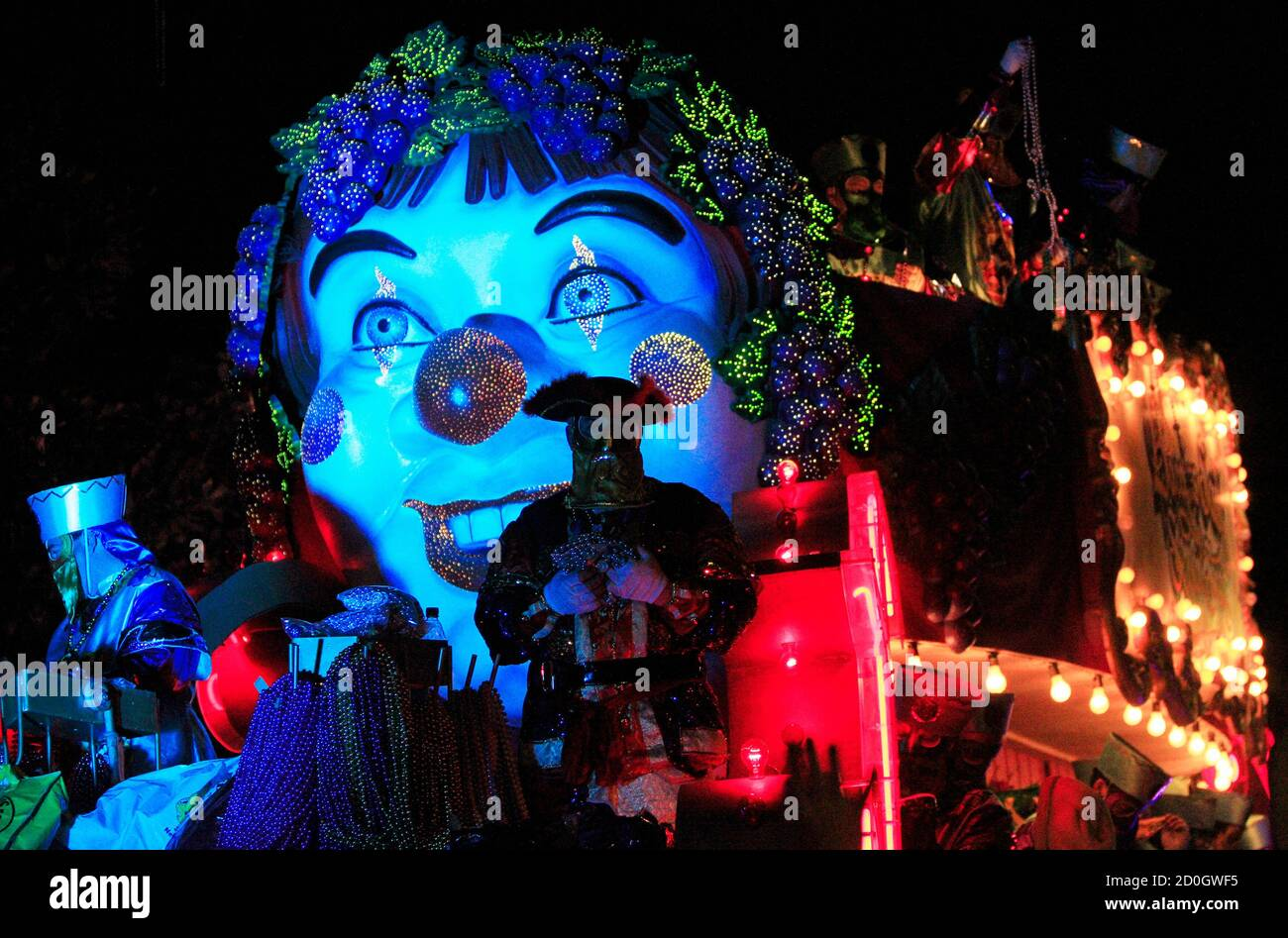 Members of the Krewe of Bacchus parade down St. Charles Avenue during the weekend before Mardi Gras in New Orleans, Louisiana February 10, 2013. Mardi Gras day will be celebrated on February 12, 2013. REUTERS/Sean Gardner (UNITED STATES - Tags: SOCIETY) Stock Photo