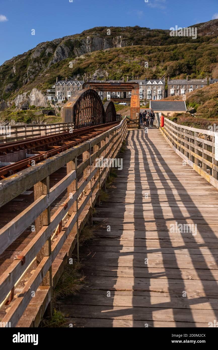 Barmouth railway bridge over the Mawddach estuary on the Wales coast Stock Photo