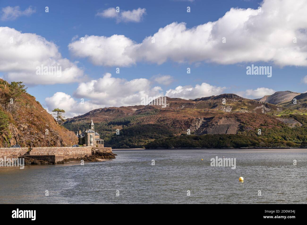 View up the Mawddach estuary from Barmouth on the welsh coast Stock Photo