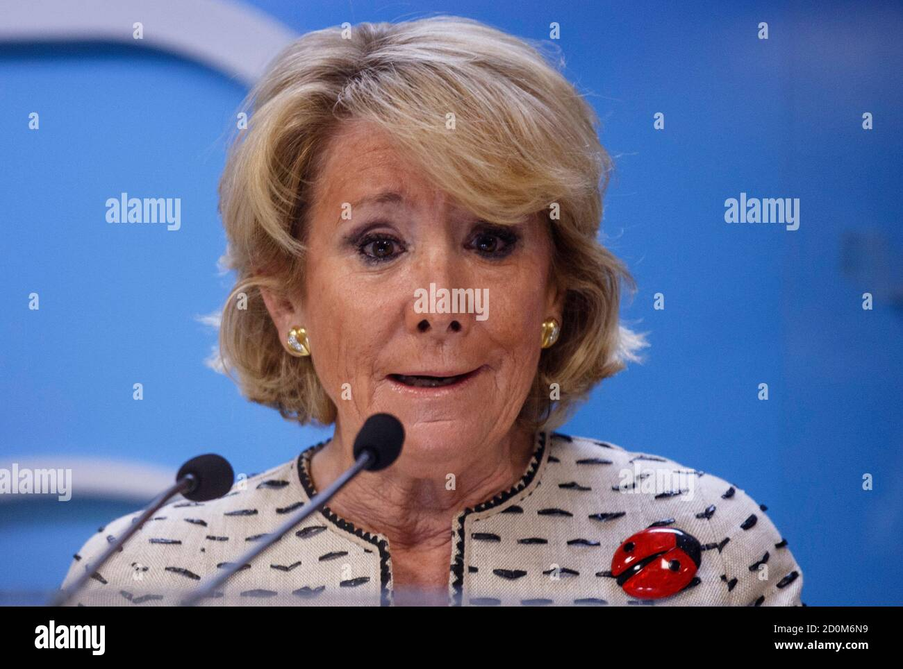 Esperanza Aguirre, former Madrid regional president and current president of the Madrid branch of the conservative Popular Party,  speaks during a news conference in Madrid, April 8, 2014. Aguirre was fined by traffic police last Thursday for parking illegally in a bus lane in Madrid's Gran Via thoroughfare while withdrawing money from an ATM, and subsequently fleeing the scene and knocking over a police motorcycle while an officer was issuing a ticket.  REUTERS/Andrea Comas (SPAIN - Tags: POLITICS CRIME LAW) Stock Photo