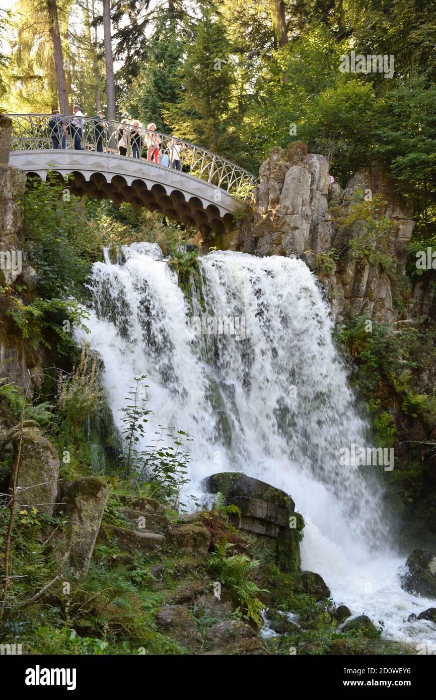 Wasserspiele - Plutogrotte, Teufelsbrücke and Jussow Temple Stock Photo