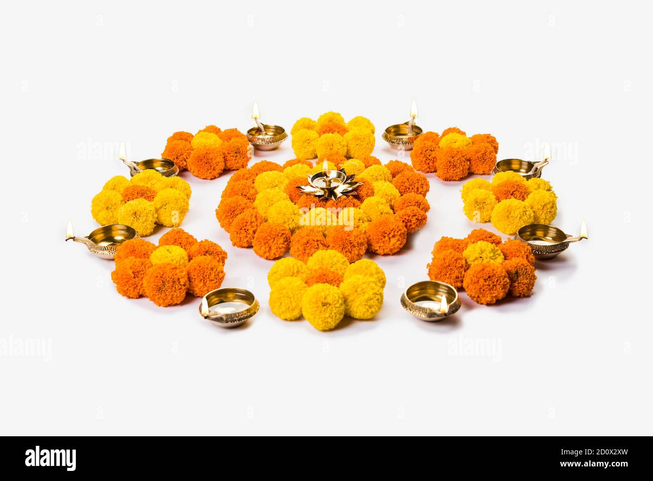Flower Rangoli For Diwali Or Pongal Festival Made Using Marigold Or Zendu Flowers And Rose Petals Over Moody Or White Background Selective Focus Stock Photo Alamy