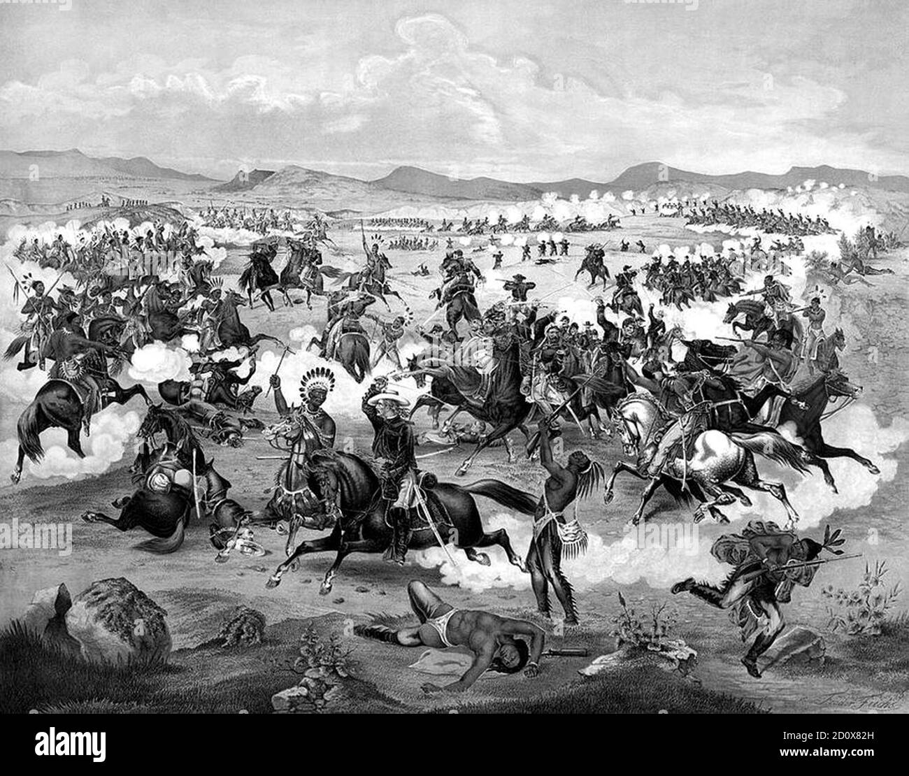 1876 illustration of Lieutenant Colonel Custer on horseback and his U.S. Army troops making their last charge at the Battle of the Little Bighorn. Public domain picture by virtue of age. Originally published by Seifert Gugler & Co in 1876.   The Battle of the Little Bighorn, known to the Lakota and other Plains Indians as the Battle of the Greasy Grass and also commonly referred to as Custer's Last Stand, was an armed engagement between combined forces of the Lakota, Northern Cheyenne, and Arapaho tribes and the 7th Cavalry Regiment of the United States Army. The battle, which resulted in the Stock Photo