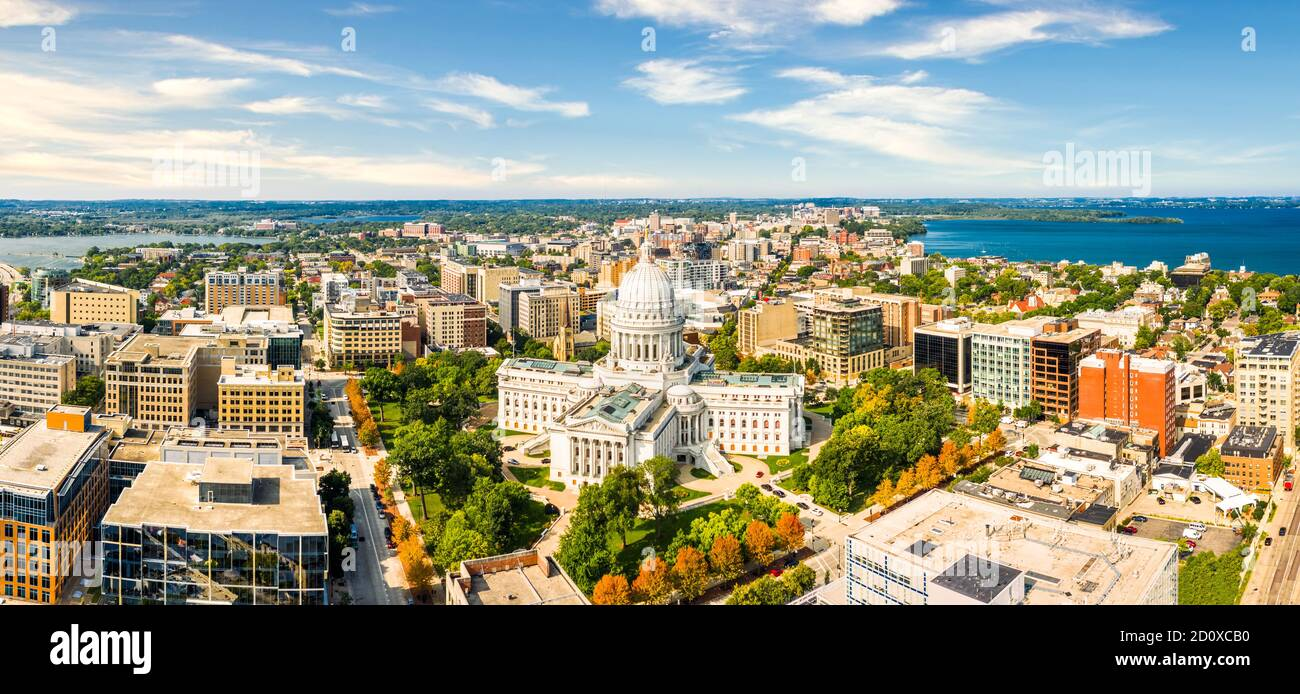 Wisconsin State Capitol and Madison skyline Stock Photo