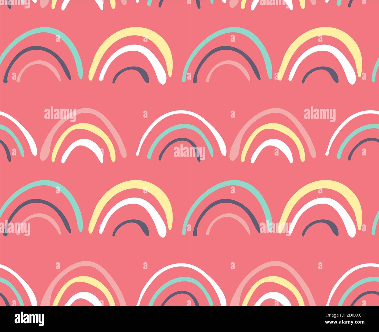 Doodle rainbows on pink background, seamless patterns Stock Vector
