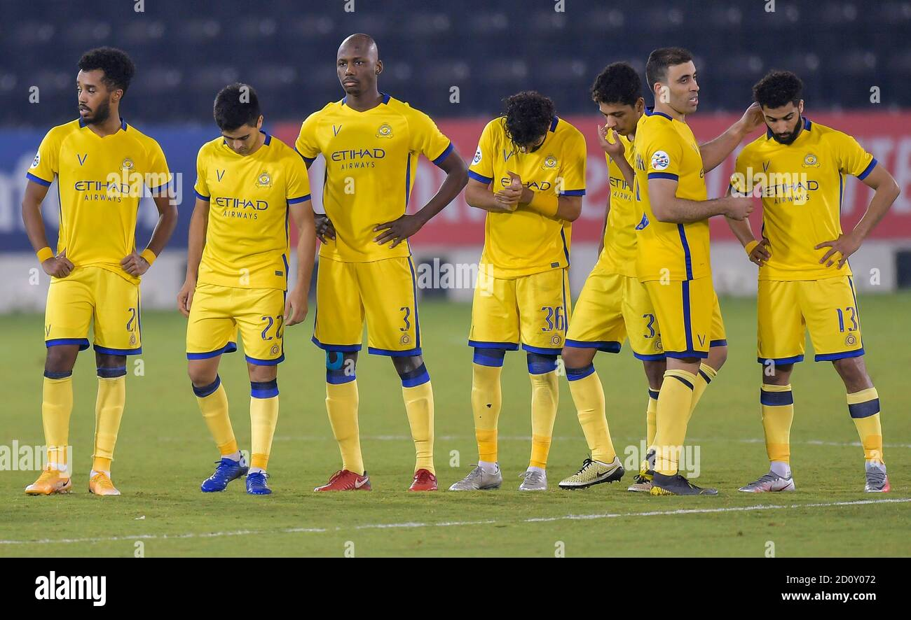 Doha Capital Of Qatar 3rd Oct 2020 Players Of Al Nassr React After Losing The Penalty