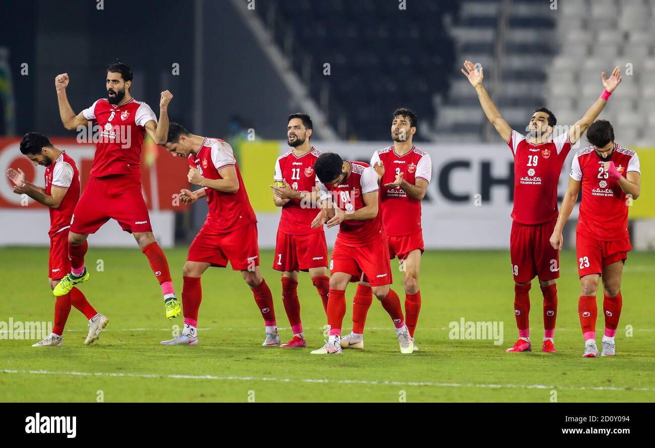 Doha Capital Of Qatar 3rd Oct 2020 Players Of Persepolis Fc Celebrate After Winning The Penalty