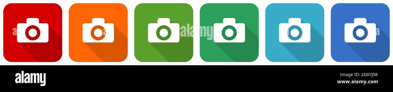 Camera icon set, flat design vector illustration in 6 colors options for webdesign and mobile applications Stock Vector