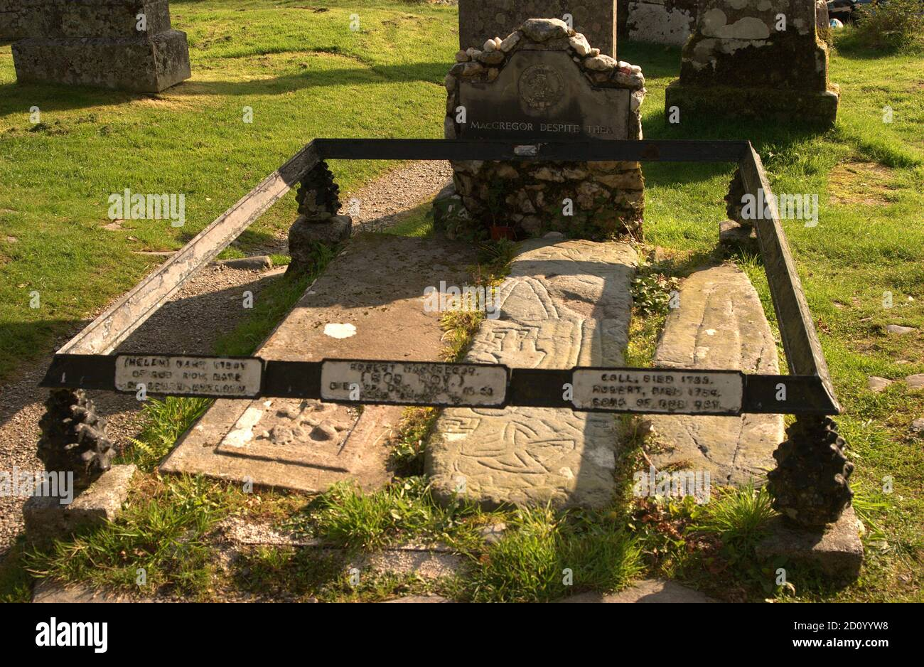 the graves of Rob Roy McGregor, his wife Mary & two sons at Balquhidder, Scotland Stock Photo