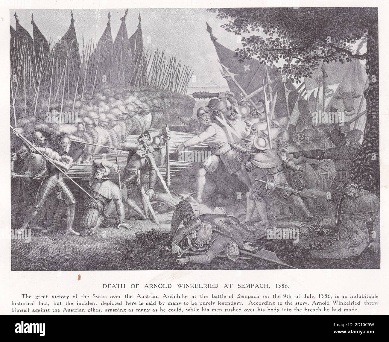Death of Arnold Winkelried at Sempach 1386 Stock Photo