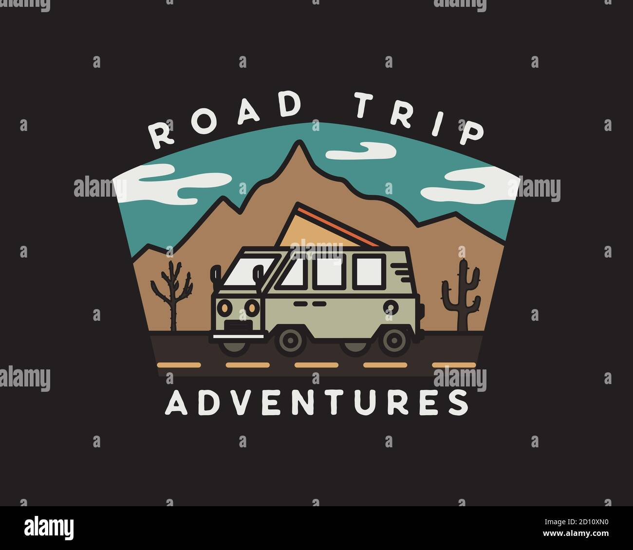Vintage road trip journey badge illustration design. Outdoor emblem with RV, mountains and text - Road Trip adventures. Unusual hipster style patch Stock Vector