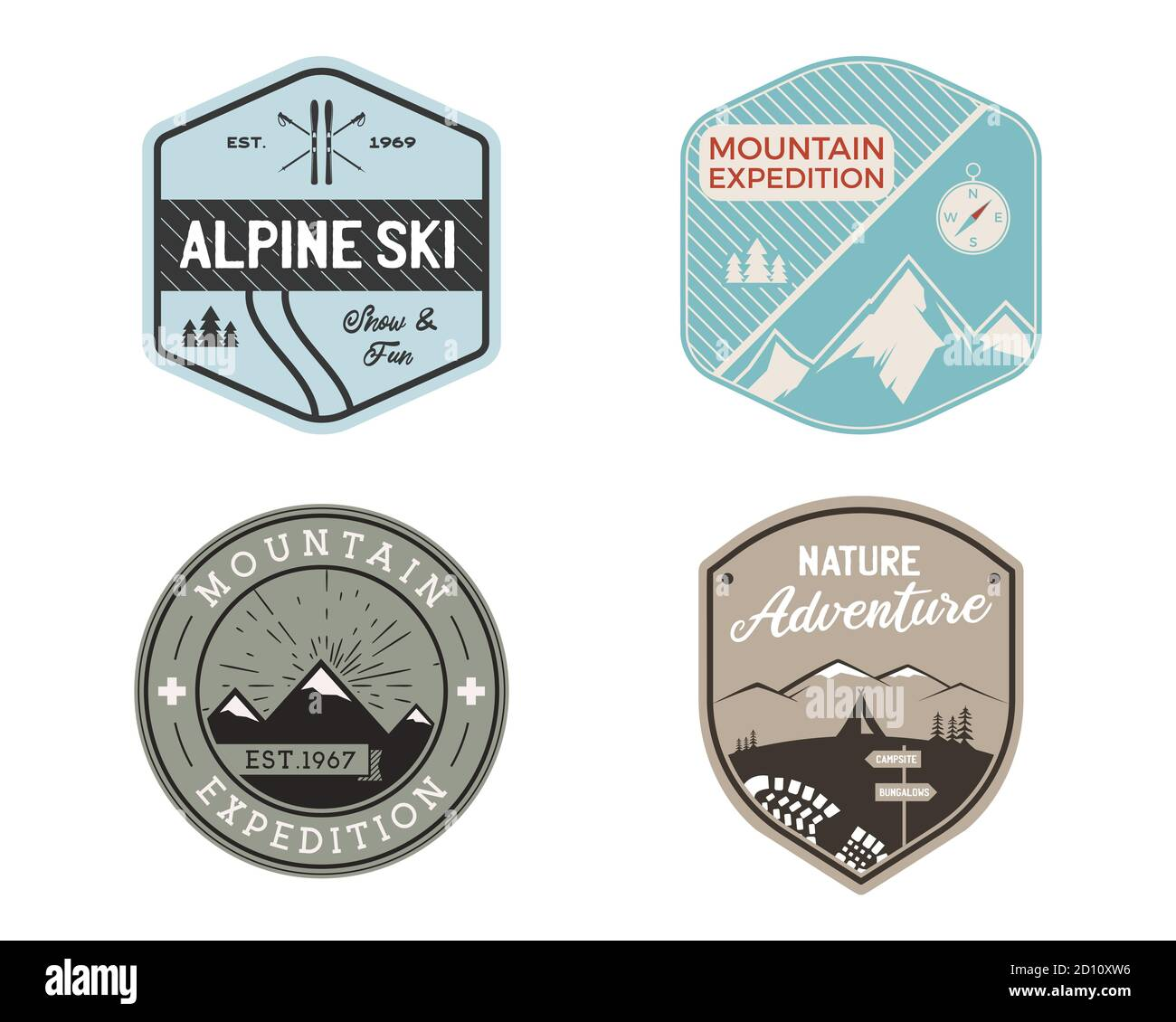 Vintage mountain ski badges logos set, Mountain adventure stickers. Hand drawn emblems bundle. Skiing, travel expedition labels. Outdoor hiking Stock Vector