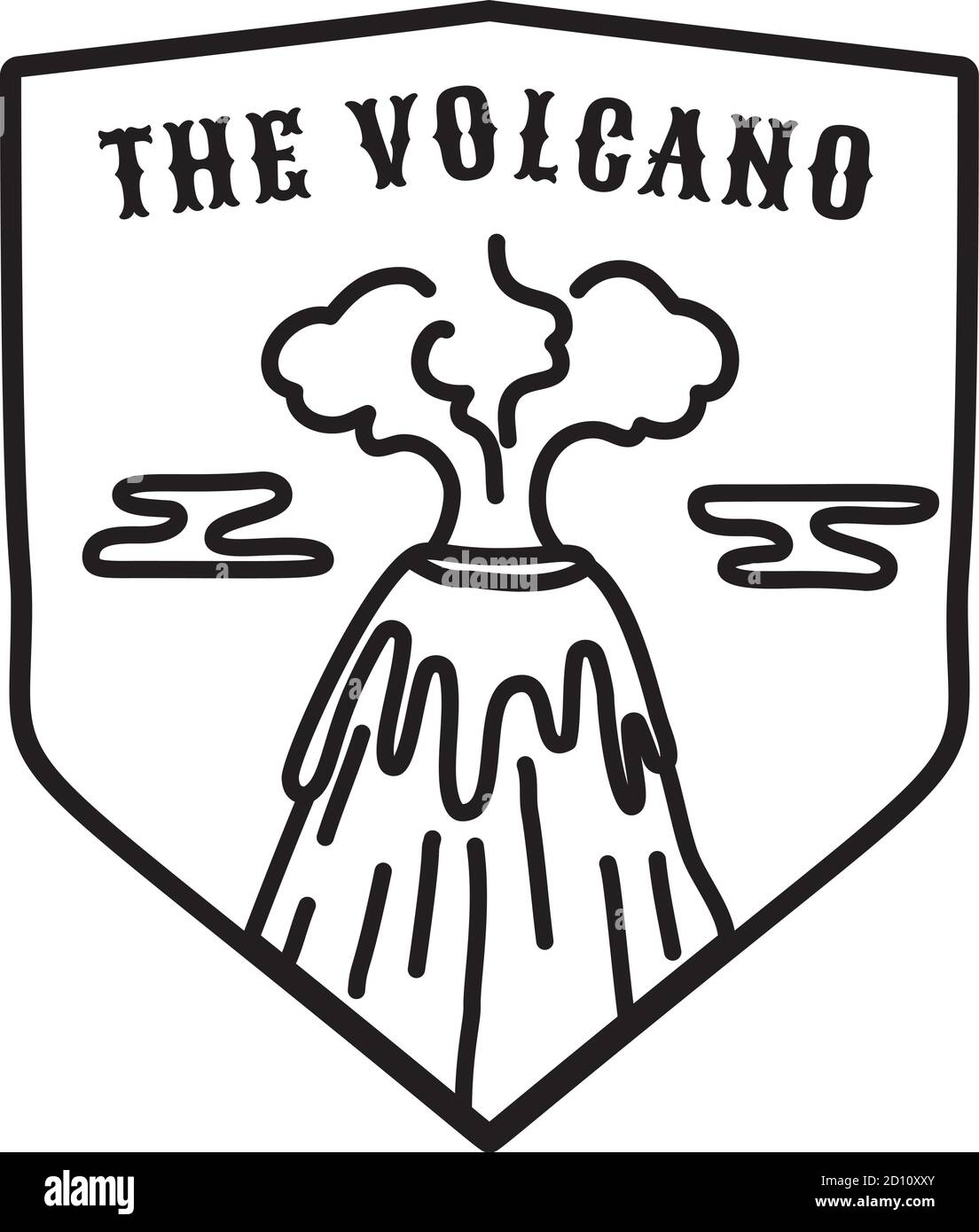 Vintage volcano emblem. Adventure badge illustration design. Outdoor logo with mountain and text - The volcano. Unusual style badge sticker. Stock Stock Vector