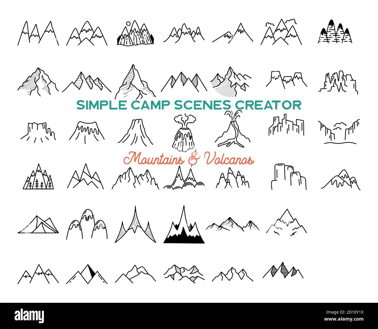 Simple vector mountains icons shapes set. Logo creation kit. Outdoor adventure line art mountain elements bundle. Silhouette linear concept. Stock Stock Vector
