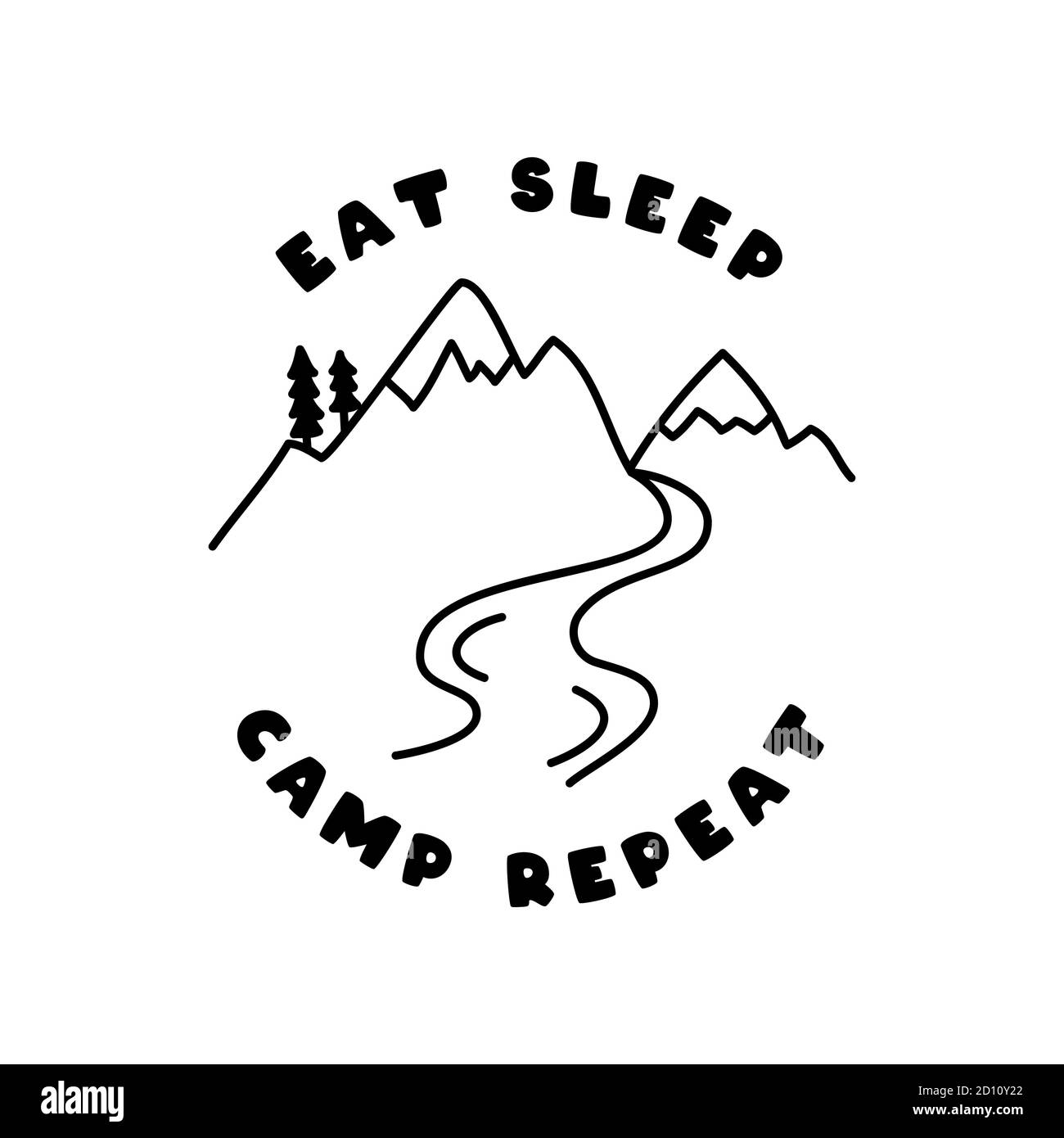 Vintage adventure line art badge design. Outdoor emblem with campfire and text - Eat simple camp repeat. Unusual linear hipster style patch. Stock Stock Vector