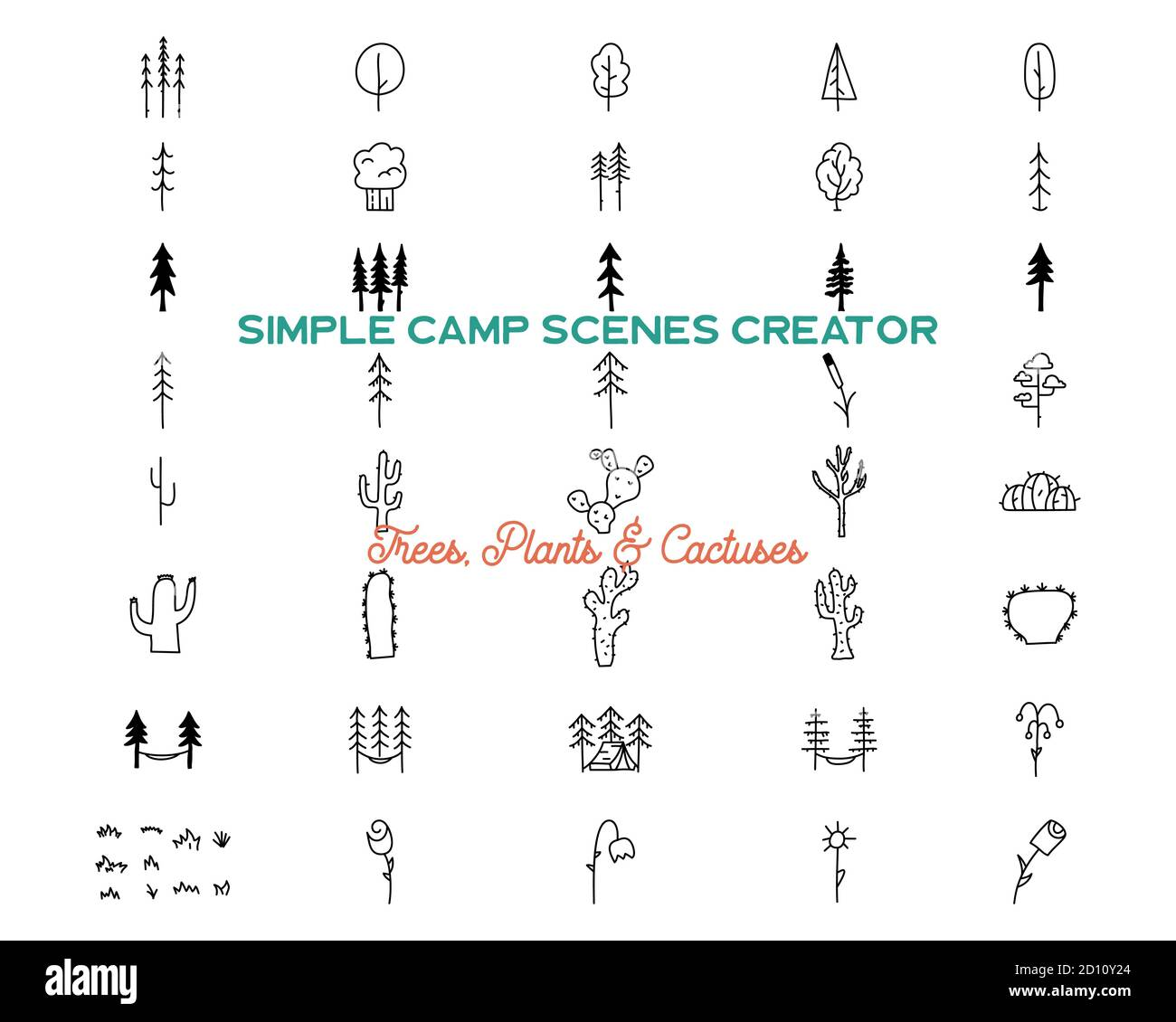 Simple vector trees and cactuses icons shapes set. Logo creation kit. Outdoor adventure line art elements bundle. Silhouette linear concept. Stock Stock Vector