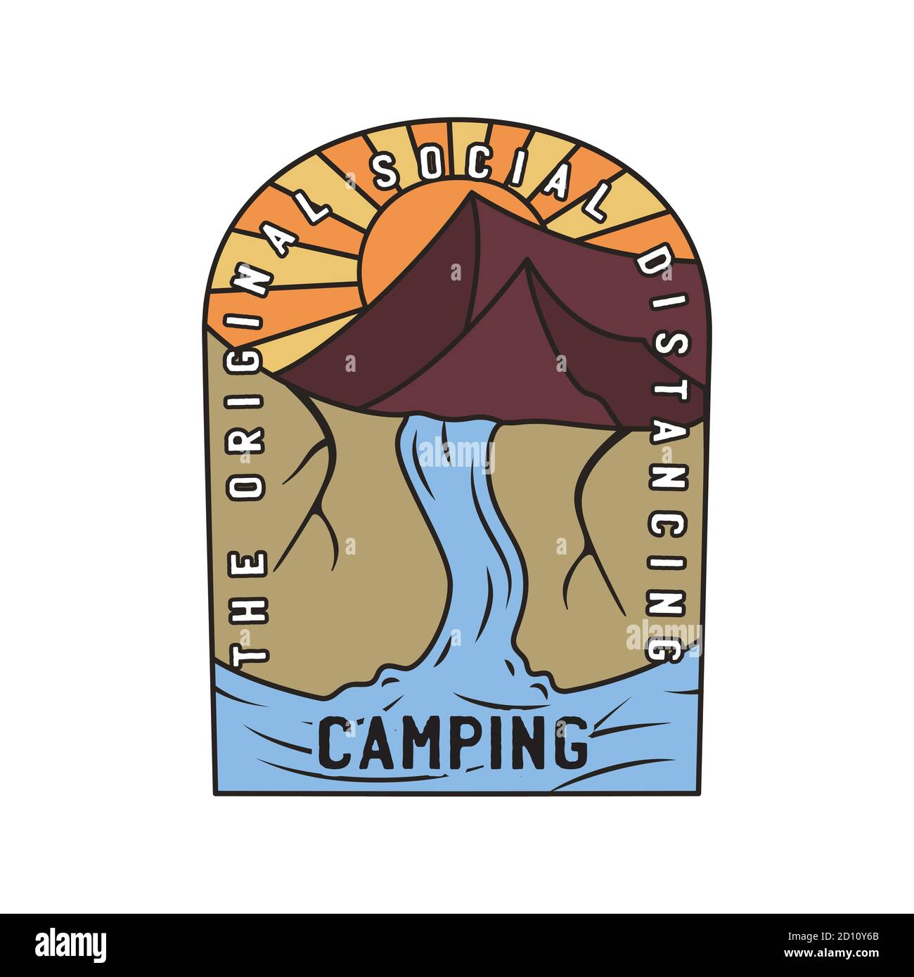 Vintage camping logo, adventure emblem illustration design. Outdoor mountain life label with waterfall scene and text - Original social distancing Stock Vector