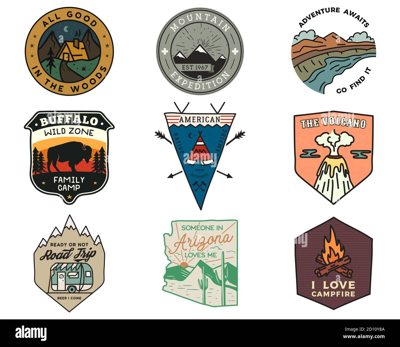 Vintage mountain camping badges logos set, Adventure patches. Hand drawn stickers designs bundle. Travel expedition, hiking labels. Outdoor sports Stock Vector