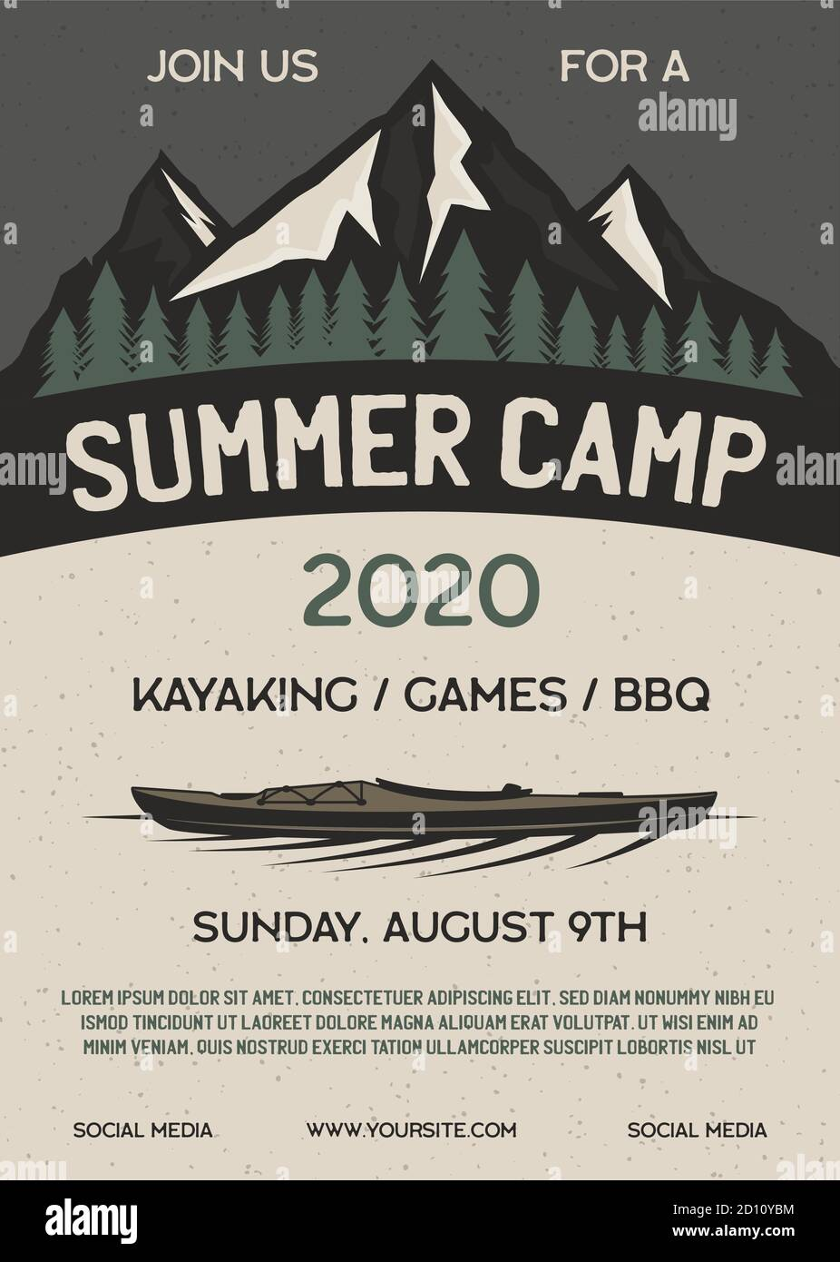 Summer camp flyer A4 format. Mountain Adventure poster graphic design with forest, kayak and text. Stock vector retro card Stock Vector