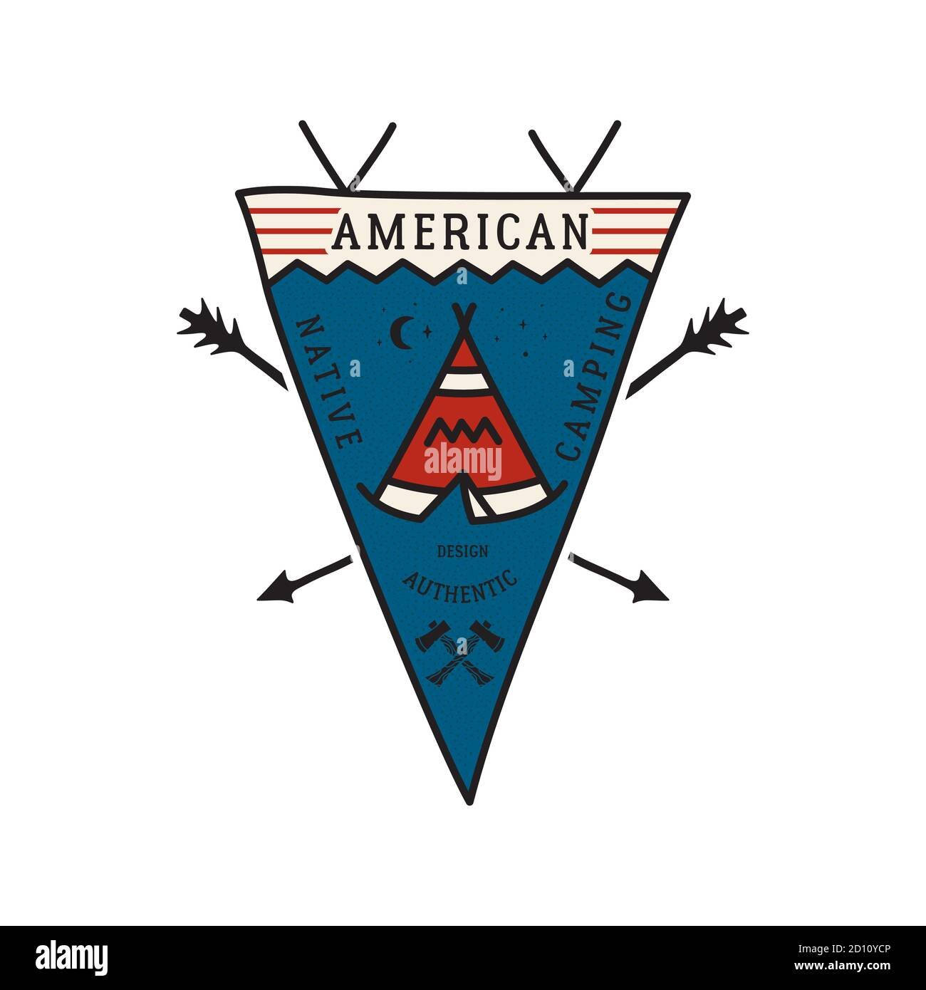 Vintage camping adventure pennant emblem illustration design. Outdoor logo badge with tent and text - American Native camping. Unusual linear hipster Stock Vector