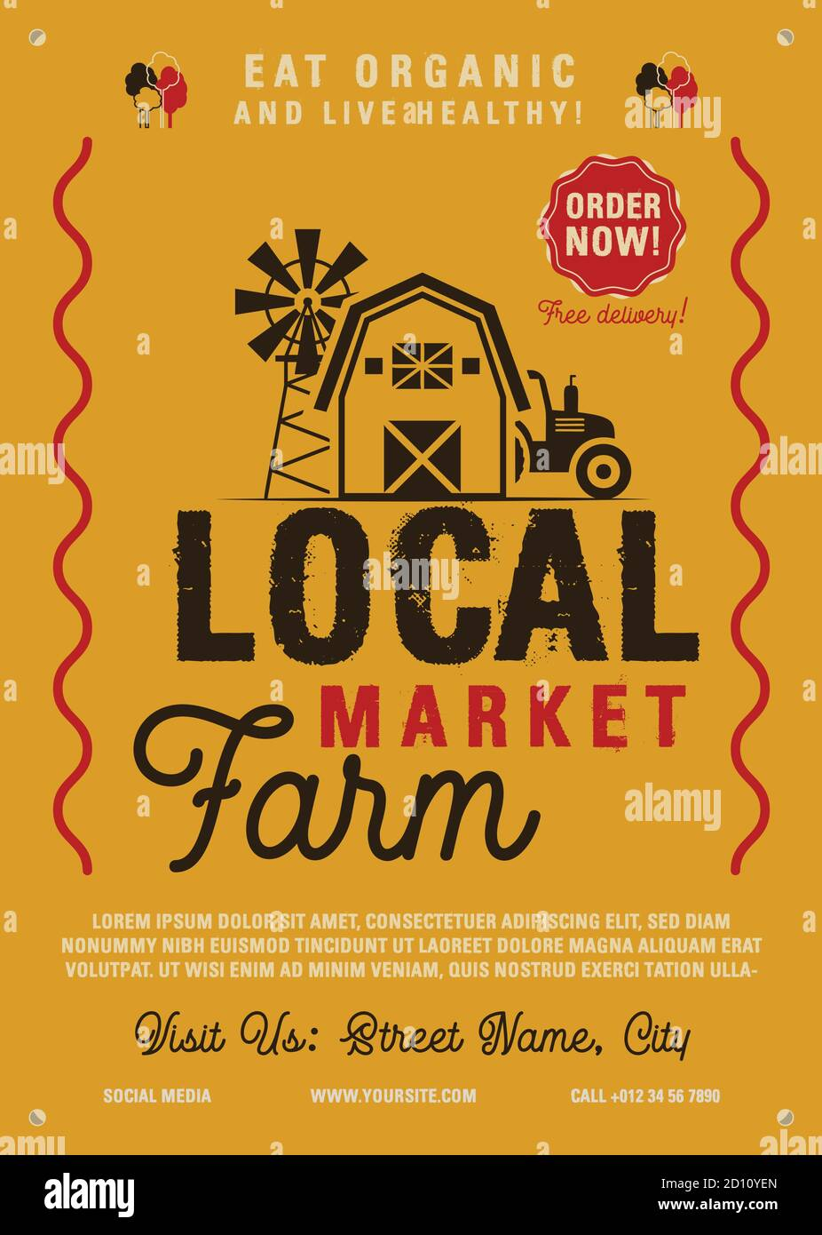 Local Farm Market flyer A4 format. Farm Fresh organic products poster graphic design with tractor, mill and barn. Stock vector retro card Stock Vector