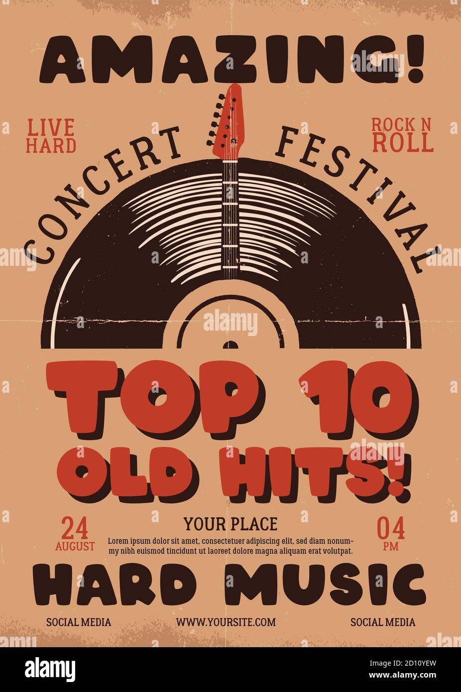 Retro Music flyer A4 format. Top 10 old hits poster graphic design with guitar and text. Stock vector hard music card Stock Vector