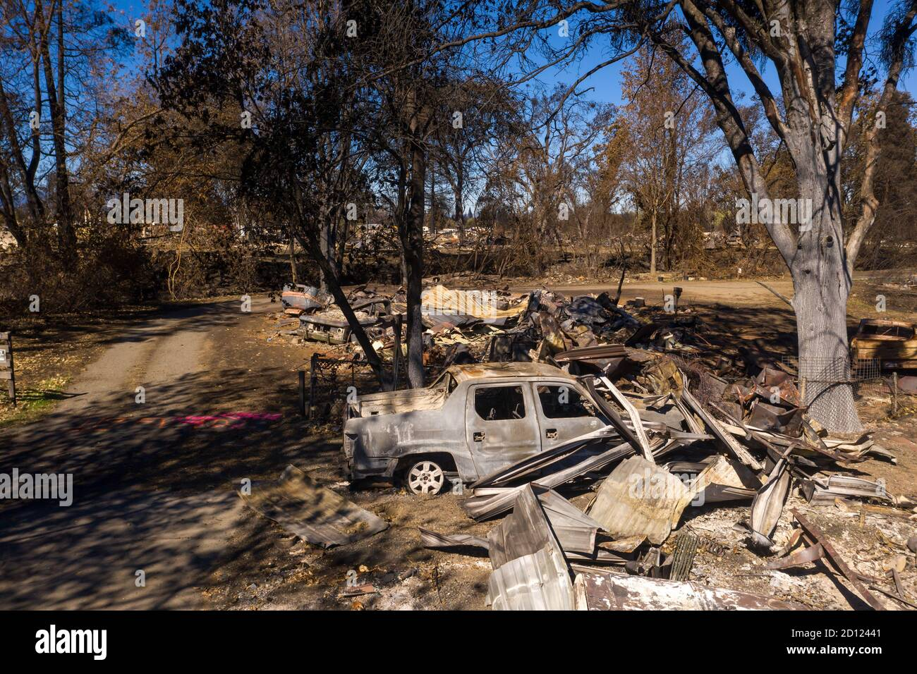 Burned homes and cars caused by Southern Oregon Almeda Fire, closeup Stock Photo