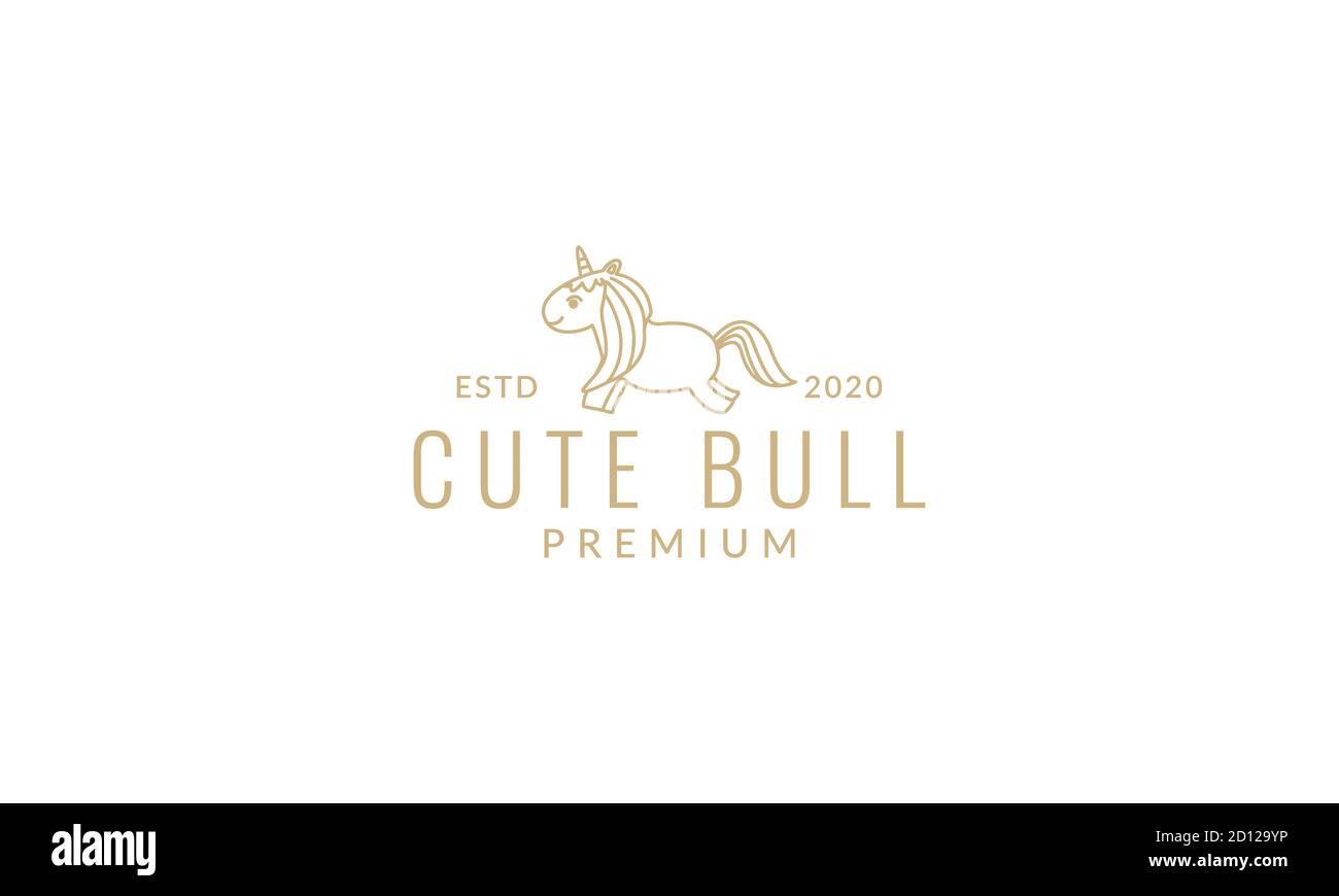 Unicorn Or Horse Cute Cartoon Happy Jump Line Logo Icon Vector Illustration Stock Vector Image Art Alamy
