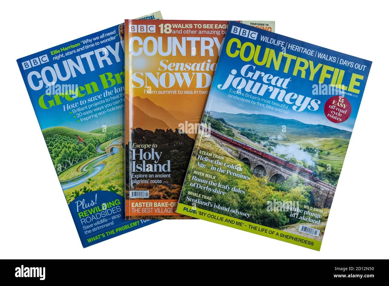 BBC Countryfile magazines on white background, UK publications Stock Photo