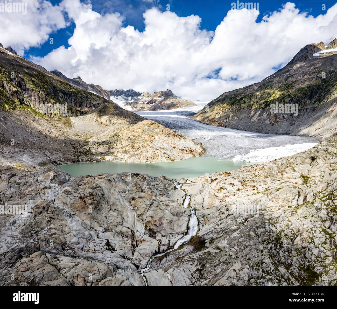 The Rhone Glacier, the source of the Rhone at Furka Pass in Switzerland Stock Photo