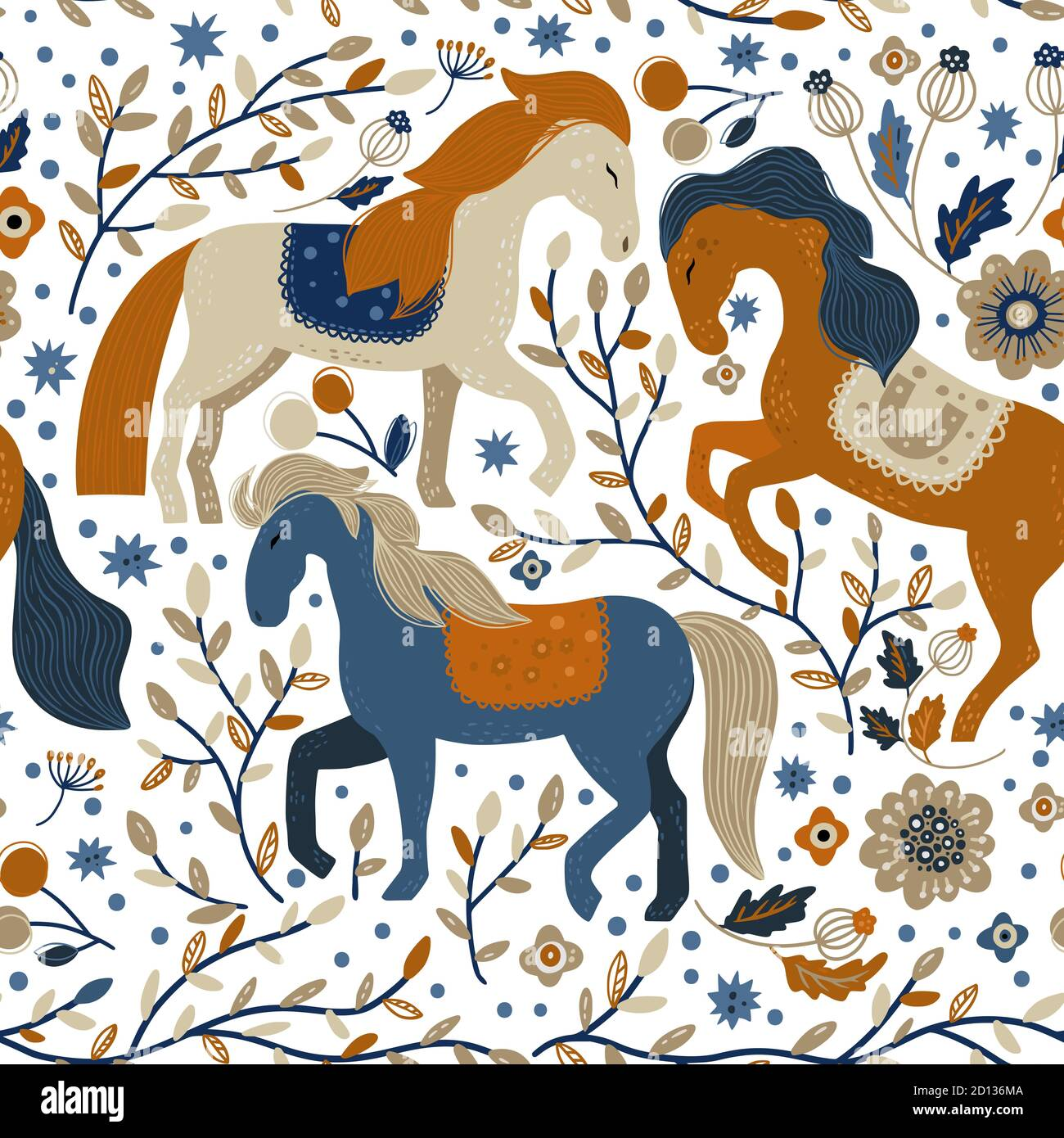 Nordic Scandinavian Horse Animal Seamless Vector Pattern Cartoon Ornate Detailed Mustangs Illustration Among Beautiful Nature On A White Background Kid Flower And Mustang Wallpaper Stock Vector Image Art Alamy