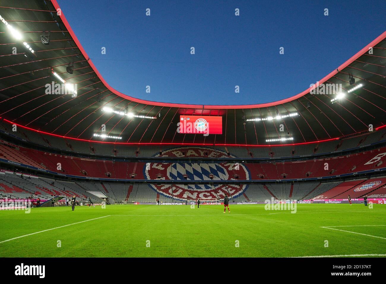 Football Munich - Hertha, Munich Oct 04, 2020. Allianz Arena inside, Beleuchtung  FC BAYERN MUENCHEN - HERTHA BSC BERLIN 4-3 1.German Soccer League , Munich, October 04, 2020.  Season 2020/2021, match day 03, FCB, München, Munich © Peter Schatz / Alamy Live News    - DFL REGULATIONS PROHIBIT ANY USE OF PHOTOGRAPHS as IMAGE SEQUENCES and/or QUASI-VIDEO - Stock Photo
