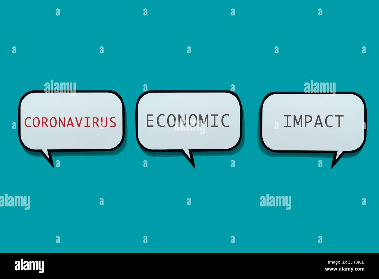 the text coronavirus economic impact in some speech balloons on a blue background Stock Photo