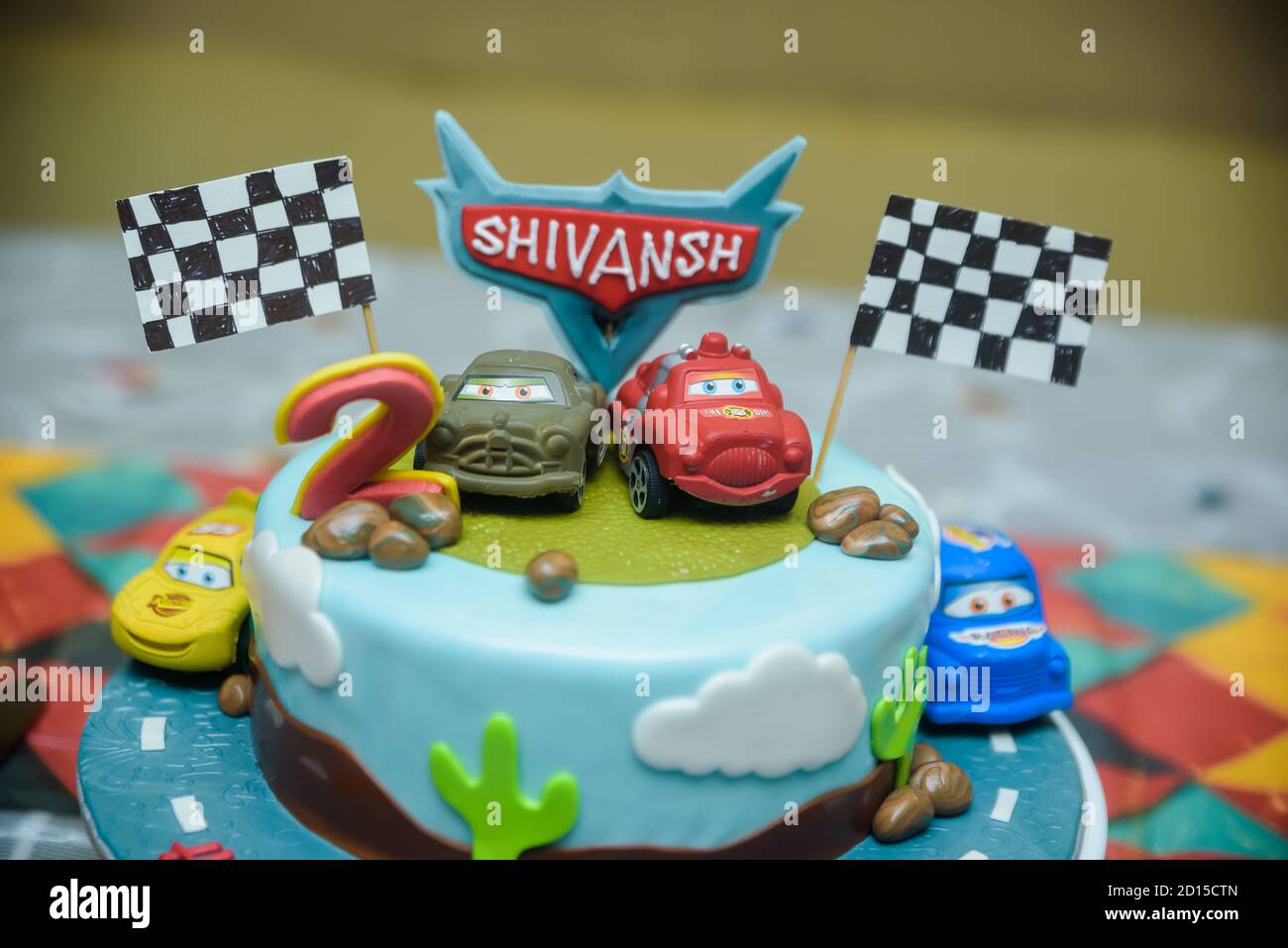 Candy Bar On Boy S Birthday Party With A Lot Of Different Candies Popcorn Beverages And Big Cake Standing On A Barrel Decorated In Bright Colors H Stock Photo Alamy