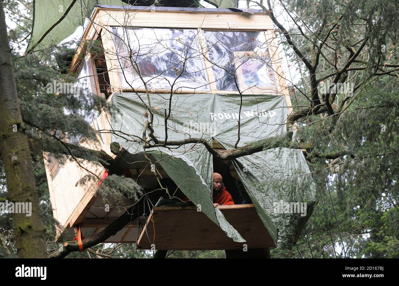 An activist of environmental organization Robin Wood observes police activities from a tree house, built in protest against the clearing of a wooded area for a new runway for the airport, in Frankfurt January 20, 2009. Some of the demonstrators have been living in the wooded area slated for clearing as a form of protest for the past 6 months. REUTERS/Kai Pfaffenbach (GERMANY) Stock Photo