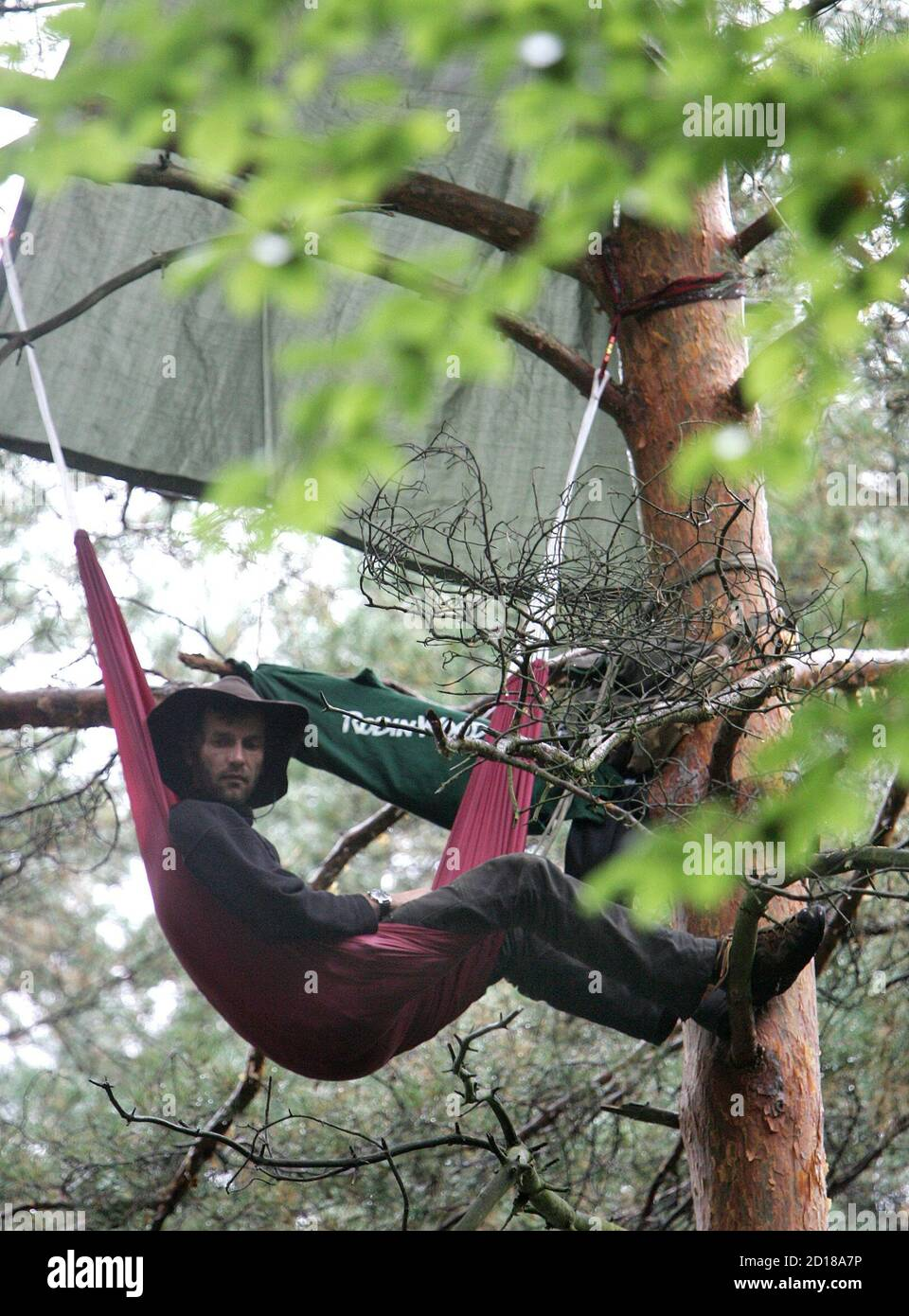 """An activist from the environmental organisation """"Robin Wood"""" sits in a tree in a sealed-off forest area called """"Bannwald"""" as construction works on a new runway near Frankfurt's Rhine-Main airport started September 11, 2005. Police expect protesters and environmental activists against the extension of the airport.  vk/TY Stock Photo"""