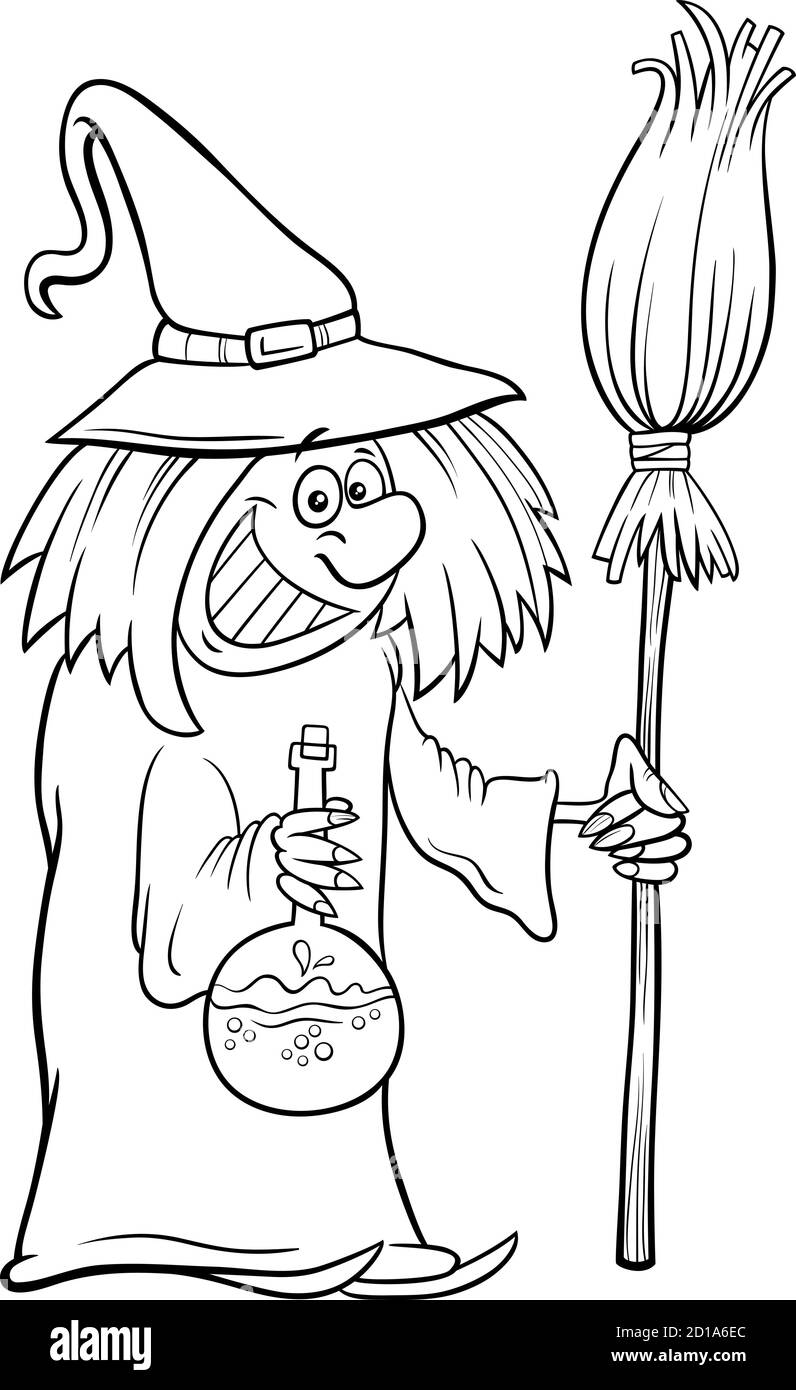 Black And White Cartoon Illustration Of Funny Witch With Broom Halloween Character Coloring Book Page Stock Vector Image Art Alamy