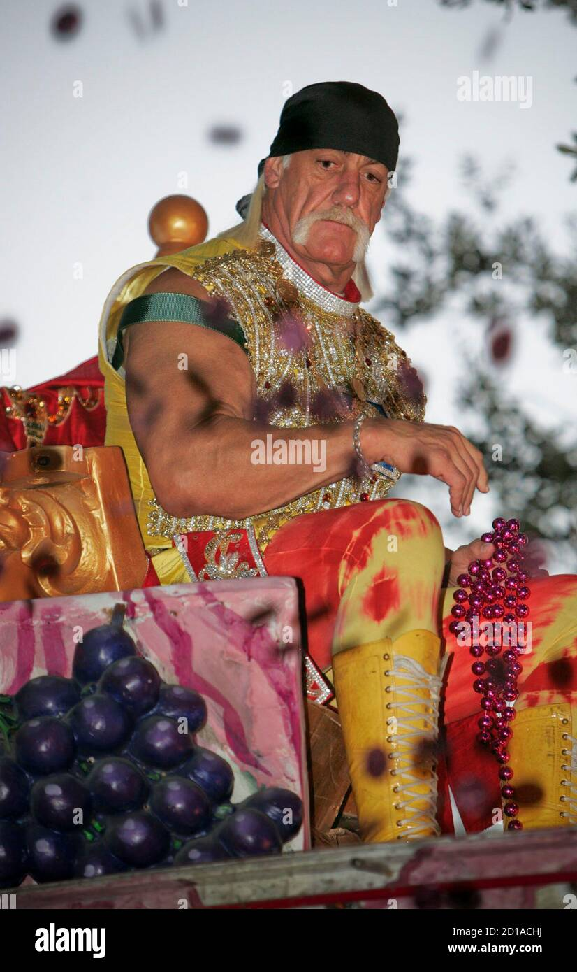 Grand Marshall professional wrestler and actor Hulk Hogan looks on after throwing doubloons during the Bacchus Mardi Gras parade in New Orleans, Louisiana February 3, 2008. REUTERS/Lee Celano (UNITED STATES) Stock Photo
