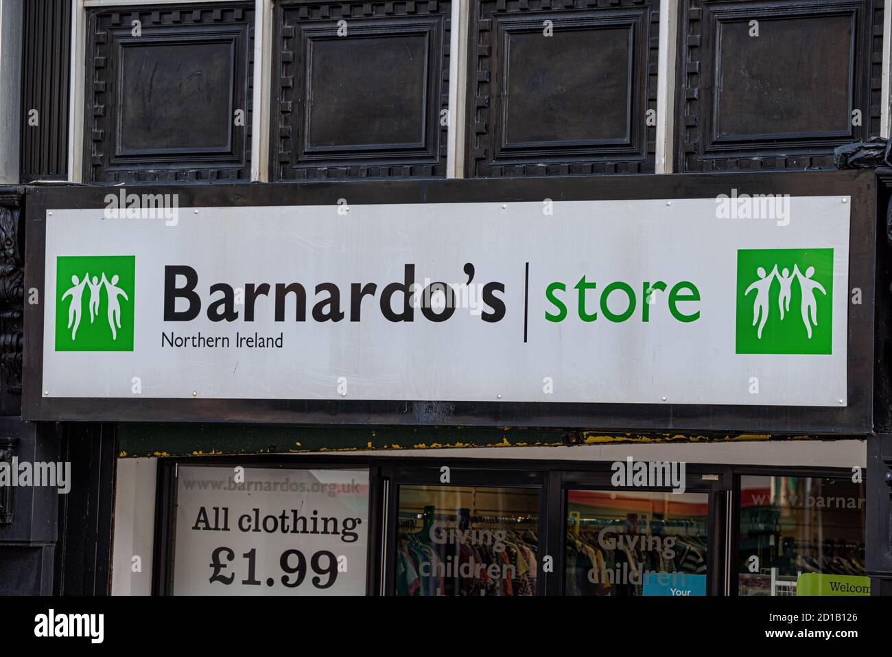 Derry, Northern Ireland- Sept 27, 2020: The front entrance and sign for Barnardo's store l in Derry Northern Ireland. Stock Photo