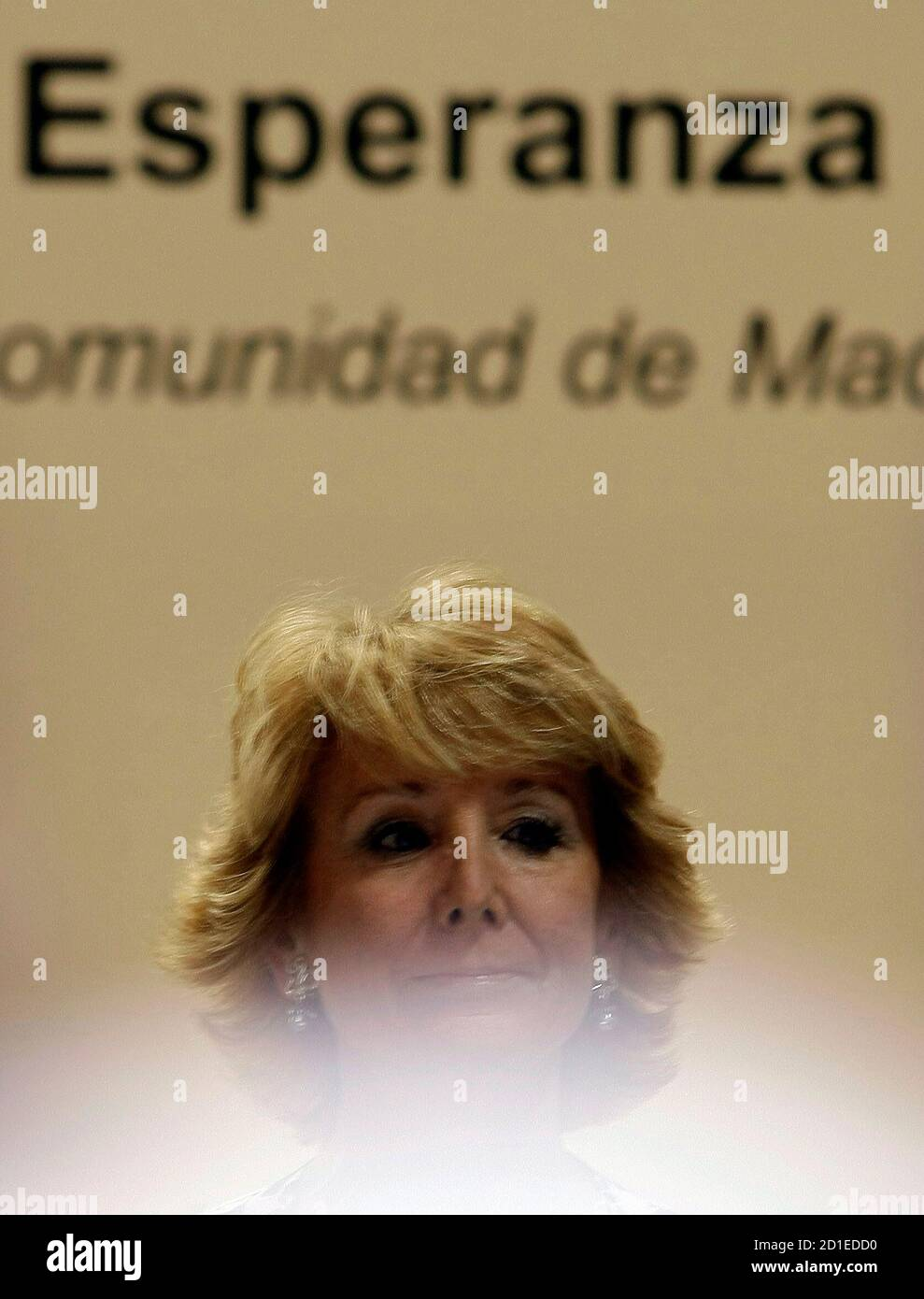 Esperanza Aguirre, the president of the Madrid Regional Government and one of the main Popular Party (PP) leaders, prepares to speak at a political luncheon in Madrid April 7, 2008. REUTERS/Sergio Perez (SPAIN) Stock Photo
