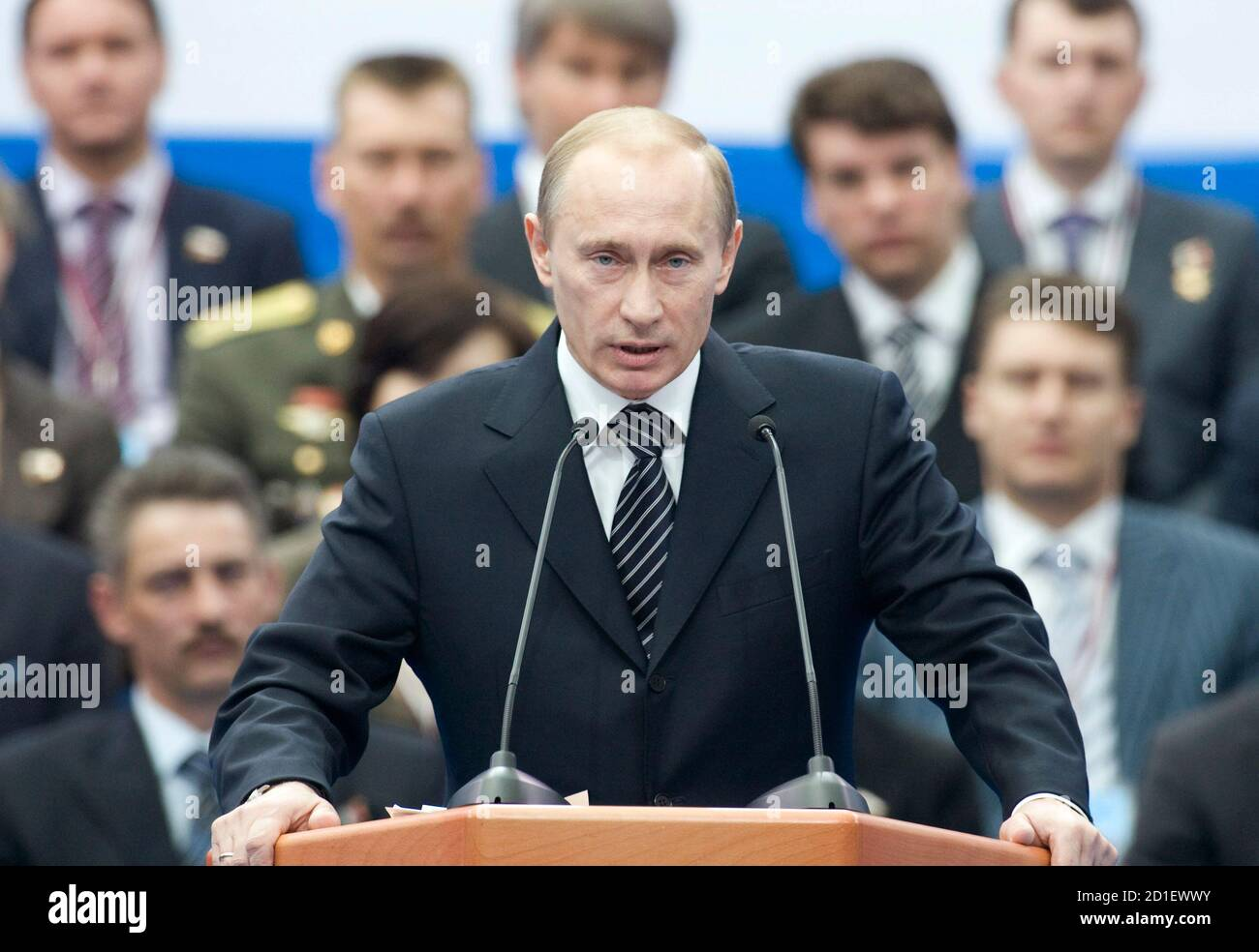 Russian President Vladimir Putin Speaks At A United Russia Party Congress In Moscow April 15 2008 Putin Agreed On Tuesday To Lead Russia S Biggest Political Party A Move That Will Entrench His