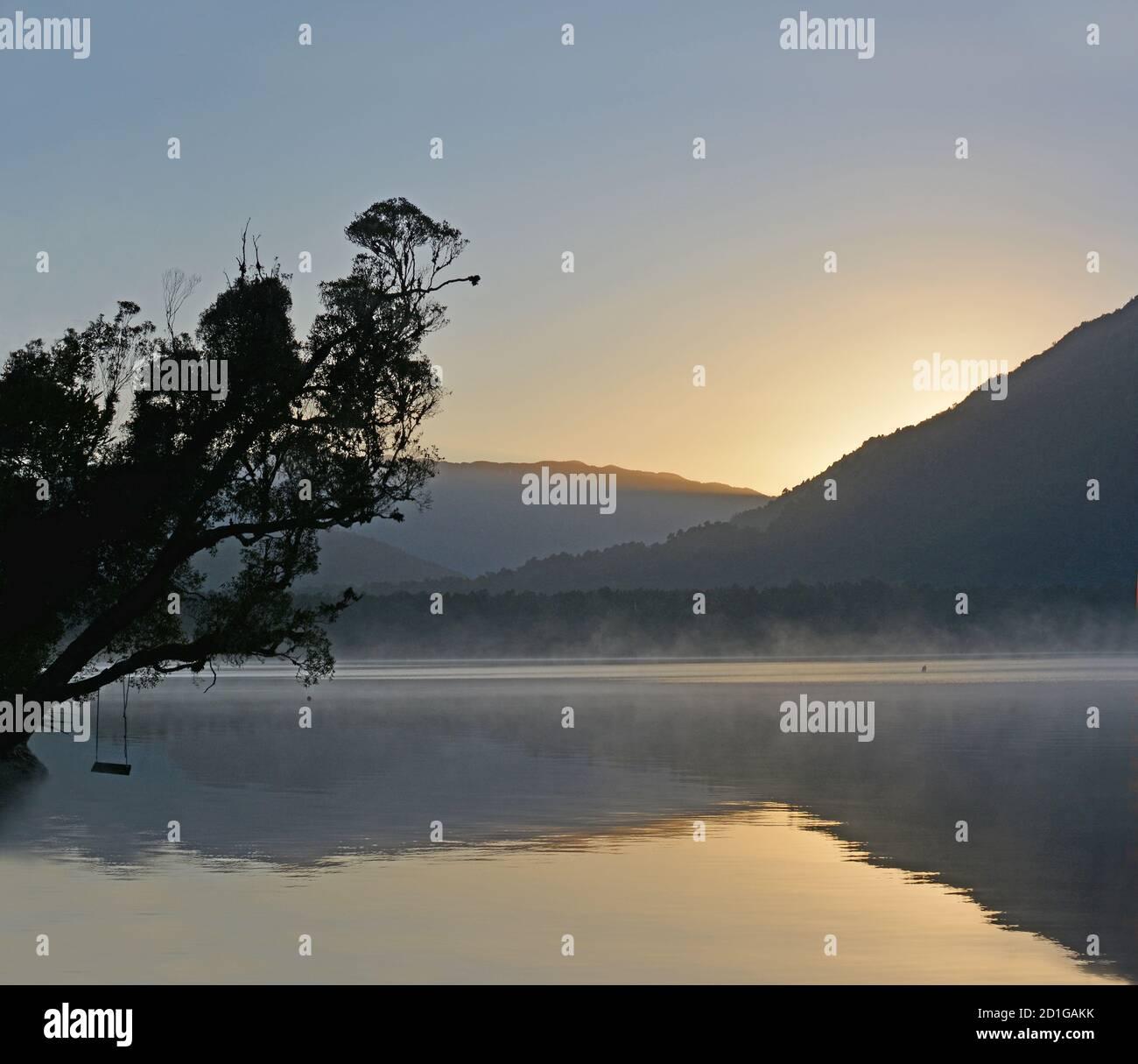 Lake Kaniere at Dawn in Spring, Westcoast,New Zealand Stock Photo