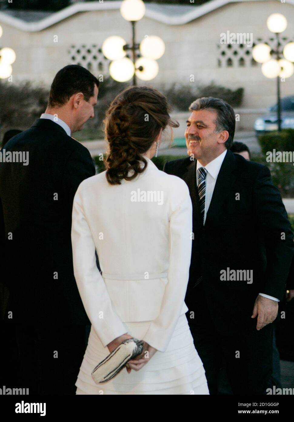 Syria S President Bashar Al Assad And His Wife Asma Welcomes His Turkish Counterpart Abdullah Gul R During The Official Opening Of Damascus The Arabic Capital Of Culture 2008 In Damascus January 19 2008