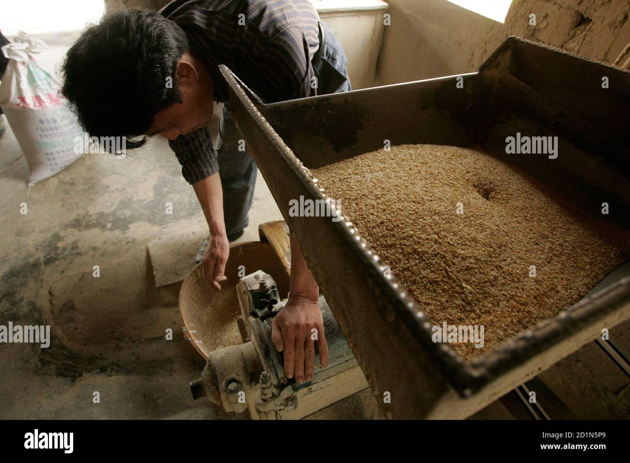 A farmer removes husks from rice in Nanhui district on the outskirts of Shanghai April 7, 2008. China will offer farmers more favourable treatment to encourage them to sow crops so as to guarantee grain reserves and ease inflationary pressures, Premier Wen Jiabao said in comments published on Sunday. REUTERS/Aly Song (CHINA) Stock Photo