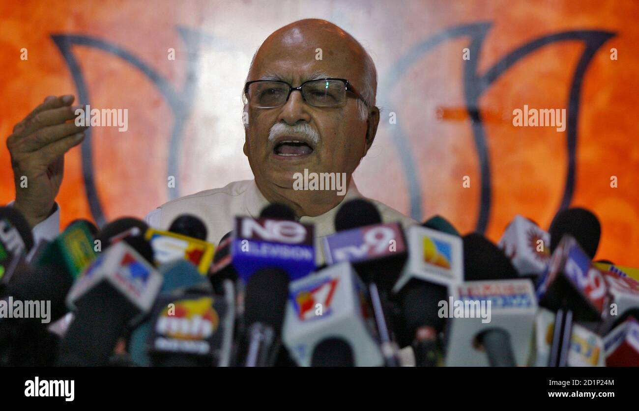 India's main opposition Bharatiya Janata Party (BJP) leader Lal Krishna Advani speaks during a news conference at his party's headquarters in New Delhi July 23, 2008.   REUTERS/Vijay Mathur (INDIA) Stock Photo